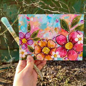 "January Daily Painting Day 6 ""Consider the Wildflowers"" 5x7 inch Floral Original - Bethany Joy Art"