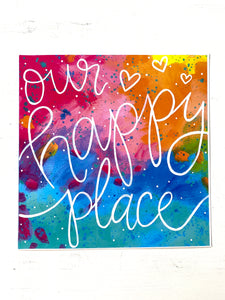 Our Happy Place 8x8 inch art print