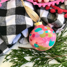 "Load image into Gallery viewer, Hand Painted Ceramic Round Ornament ""Be Merry"" Pink Multi-Color"