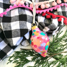 "Load image into Gallery viewer, Hand Painted Ceramic Ornament ""Be Merry"" Pink Multi-Color - Bethany Joy Art"