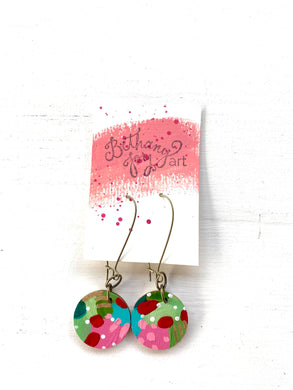 Colorful, Hand Painted Earrings 164