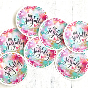 Live Joyfully Vinyl Sticker - Bethany Joy Art