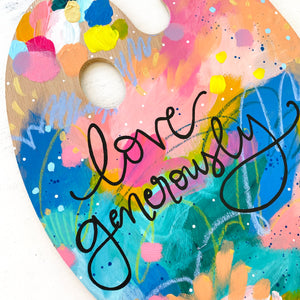 "Paint Palette Original Painting 12 Days of Christmas Day 2 ""Love Generously"""