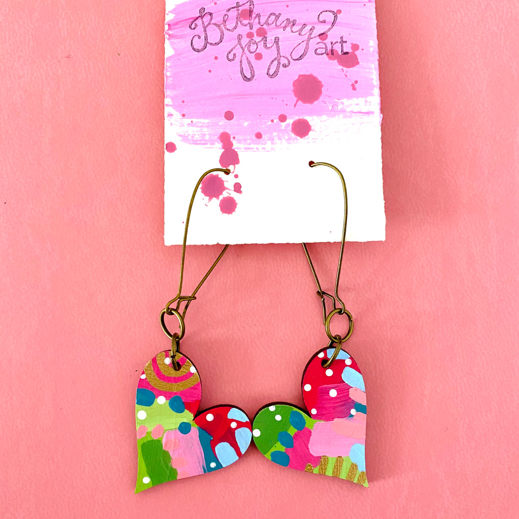 Colorful, Hand Painted, Heart Shaped Earrings 33