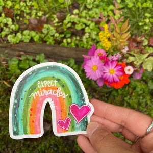 Rainbow Expect Miracles Vinyl Sticker - September Sticker of the Month