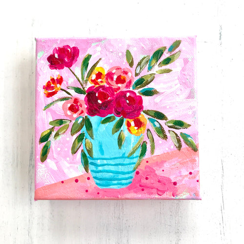 """Roses are Red"" Vase of Flowers Original Painting on 5x5 inch Canvas"