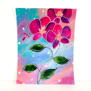 Whimsical and bold orchid original painting by Bethany Joy Art