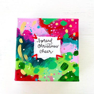 Spread Christmas Cheer 4x4 inch original abstract canvas with embroidery thread accents