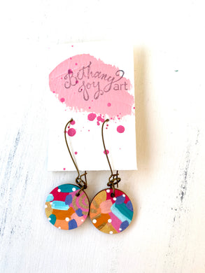 Colorful, Hand Painted Earrings 116