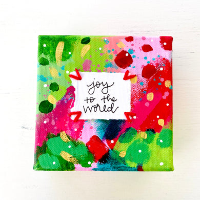 Joy to the World-1 4x4 inch original abstract canvas with embroidery thread accents