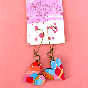 Colorful, Hand Painted, Heart Shaped Earrings 31