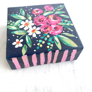 """Navy Love"" - Floral Painting on 4x4 inch canvas with 1.25 inch painted sides (pink stripes) - Bethany Joy Art"