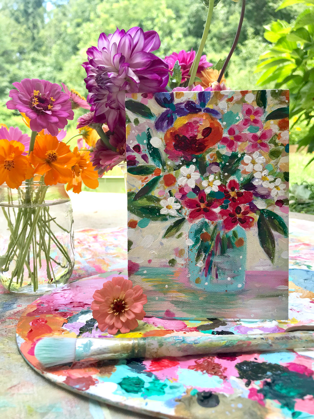 "August Daily Painting Day 5 ""Always Bring Flowers"" 5x7 inch Floral Original - Bethany Joy Art"
