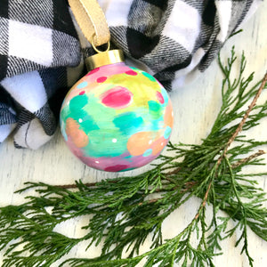 "Hand Painted Ceramic Round Ornament ""Joy"" Blue Multi-Color - Bethany Joy Art"
