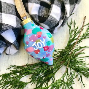 "Hand Painted Ceramic Ornament ""Joy"" Blue Multi-Color"