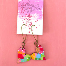 Load image into Gallery viewer, Colorful, Hand Painted, Heart Shaped Earrings 12