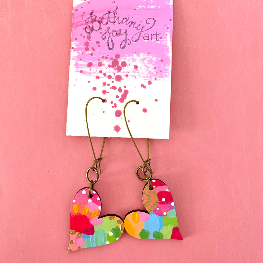 Colorful, Hand Painted, Heart Shaped Earrings 12