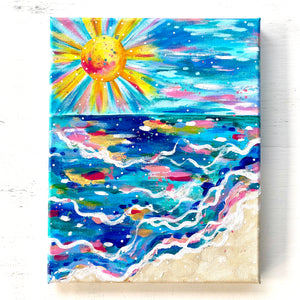 """Beach Days and Sun Rays"" 8x10 inch original painting on canvas"