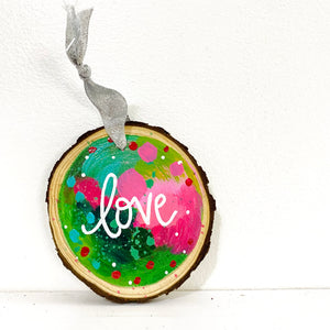 "Hand-painted wooden ornament ""Love"" #3"