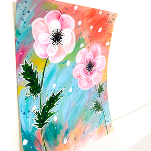 February Flowers Day 13 Anemone 8.5x11 inch original painting