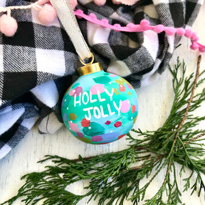 "Hand Painted Ceramic Ornament ""Holly Jolly"" Blue Multi-Color - Bethany Joy Art"