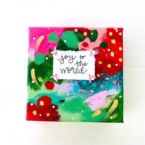 Joy to the World-2 4x4 inch original abstract canvas with embroidery thread accents