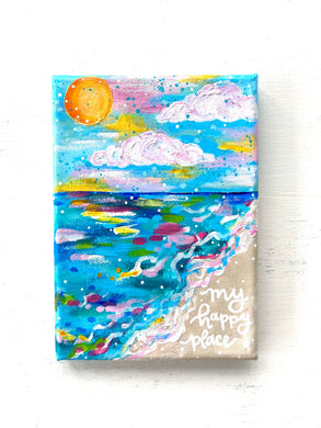 """My Happy Place"" 5x7 inch Original Coastal Inspired Painting on Canvas with painted sides"