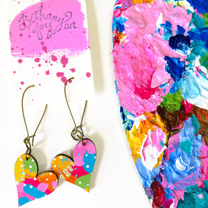 Colorful, Hand Painted, Heart Shaped Earrings 57
