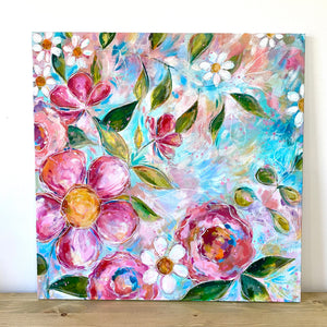 """Choose to Bloom"" Floral Original Painting on 24x24 inch canvas - Bethany Joy Art"