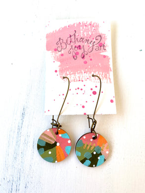 Colorful, Hand Painted Earrings 104