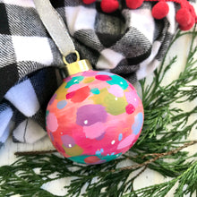 "Load image into Gallery viewer, Hand Painted Ceramic Round Ornament ""Love"" Pink Multi-Color - Bethany Joy Art"