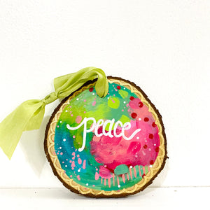"Hand-painted wooden ornament ""Peace"" #2"
