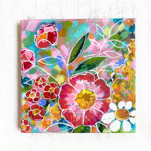 """Home Made of Dreams"" Floral Original Painting on 8x8 inch Canvas - Bethany Joy Art"