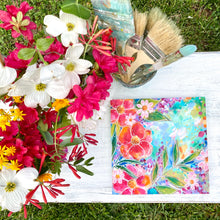 "Load image into Gallery viewer, ""Home is my Happy Place"" Floral Original Painting on 8x8 inch Wood Panel - Bethany Joy Art"