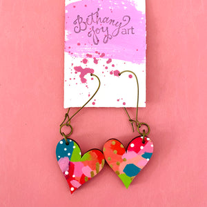 Colorful, Hand Painted, Heart Shaped Earrings 35