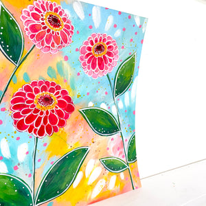 February Flowers Day 20 Zinnia 8.5x11 inch original painting