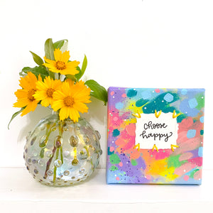Choose Happy 4x4 inch original abstract canvas with embroidery thread accents