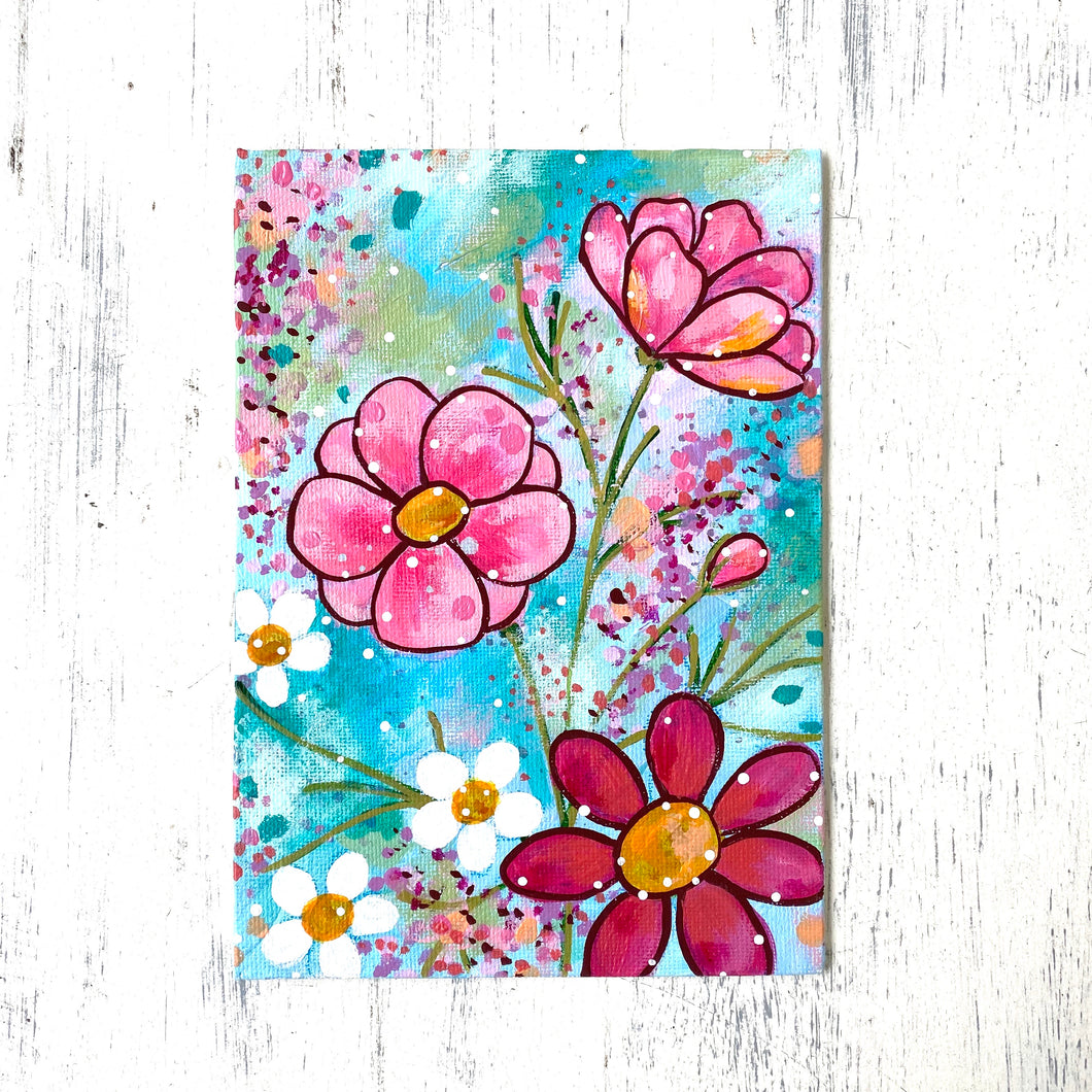 "January Daily Painting Day 7 ""Just Bloom"" 5x7 inch Floral Original - Bethany Joy Art"