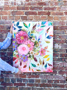 """All the Joy and All the Flowers"" Floral Original Painting on 30x24 inch canvas - Bethany Joy Art"