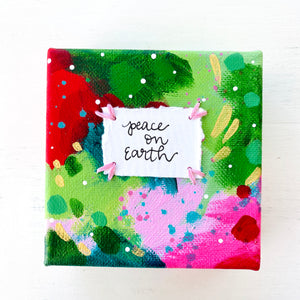 Peace on Earth-2 4x4 inch original abstract canvas with embroidery thread accents