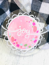 "Load image into Gallery viewer, Hand Painted Clear Acrylic Light Pink Ornament, ""Joy"""