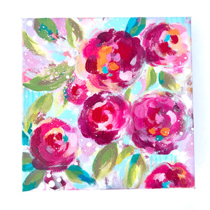 Garden Party 1 Original Painting on 10x10 inch Canvas - Bethany Joy Art