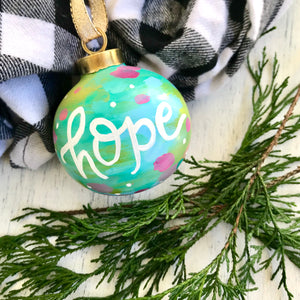 "Hand Painted Ceramic Round Ornament ""Hope"" Blue Multi-Color"