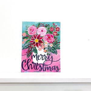 Merry Christmas Floral 8.5x11 inch holiday art print
