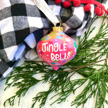 "Load image into Gallery viewer, Hand Painted Ceramic Ornament ""Jingle Bells"" Pink Multi-Color - Bethany Joy Art"