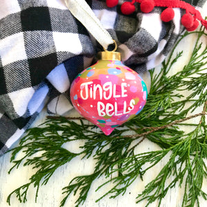 "Hand Painted Ceramic Ornament ""Jingle Bells"" Pink Multi-Color - Bethany Joy Art"