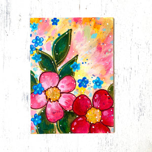 "January Daily Painting Day 24 ""A Flower for Each Hand"" 5x7 inch Floral Original - Bethany Joy Art"