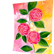 Load image into Gallery viewer, February Flowers Day 7 Camellias 8.5x11 inch original painting