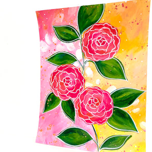 February Flowers Day 7 Camellias 8.5x11 inch original painting