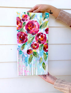 Garden Party 3 Original Painting on 10x20 inch Canvas - Bethany Joy Art